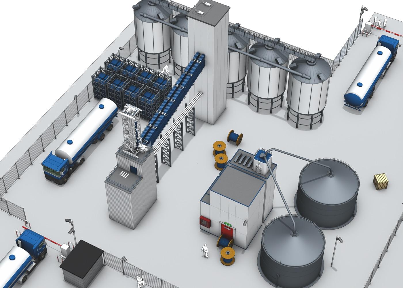 3D Ansicht einer Industrieanlage