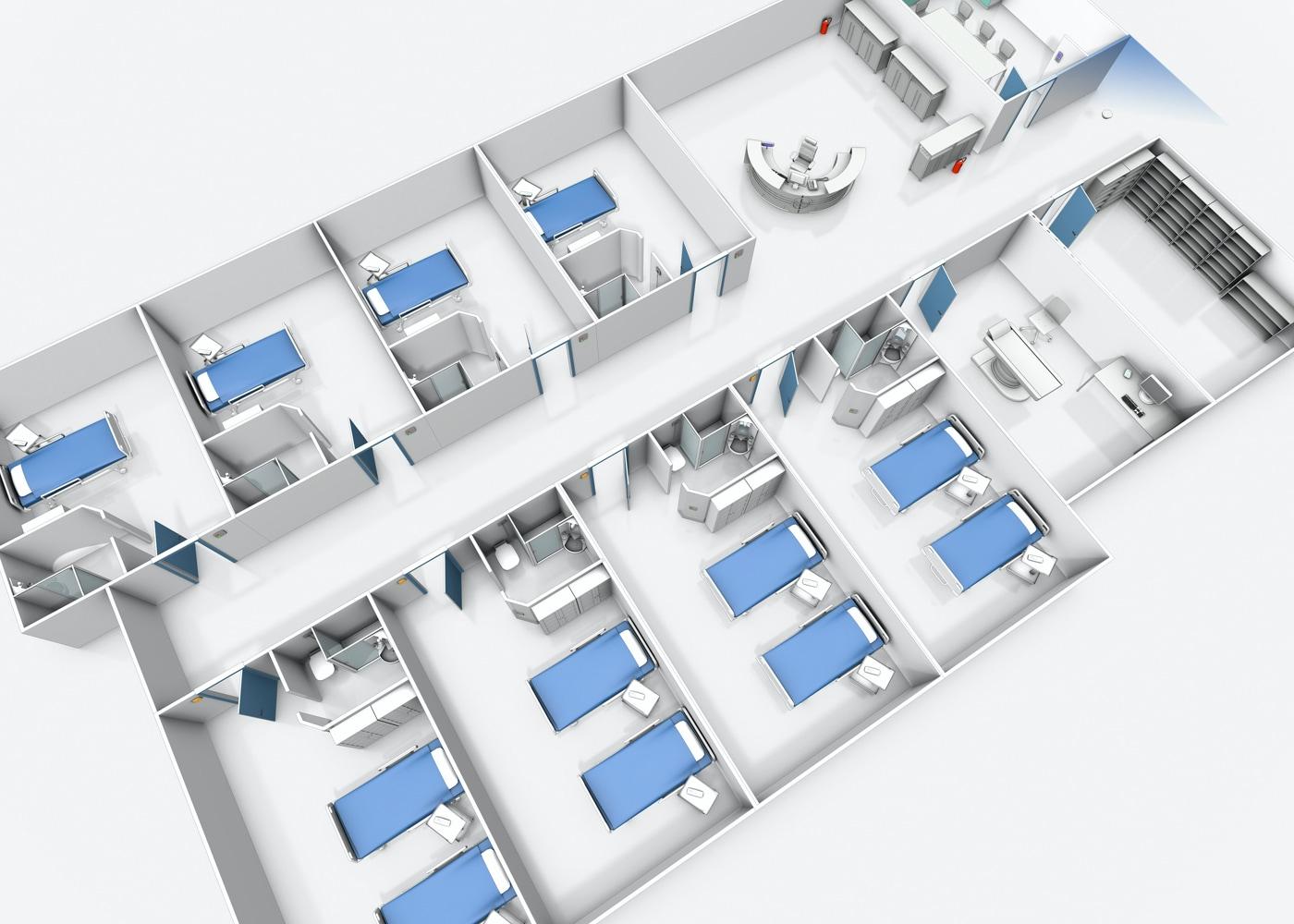 Aufschnitt einer 3D Ansicht einer Krankenhausstation