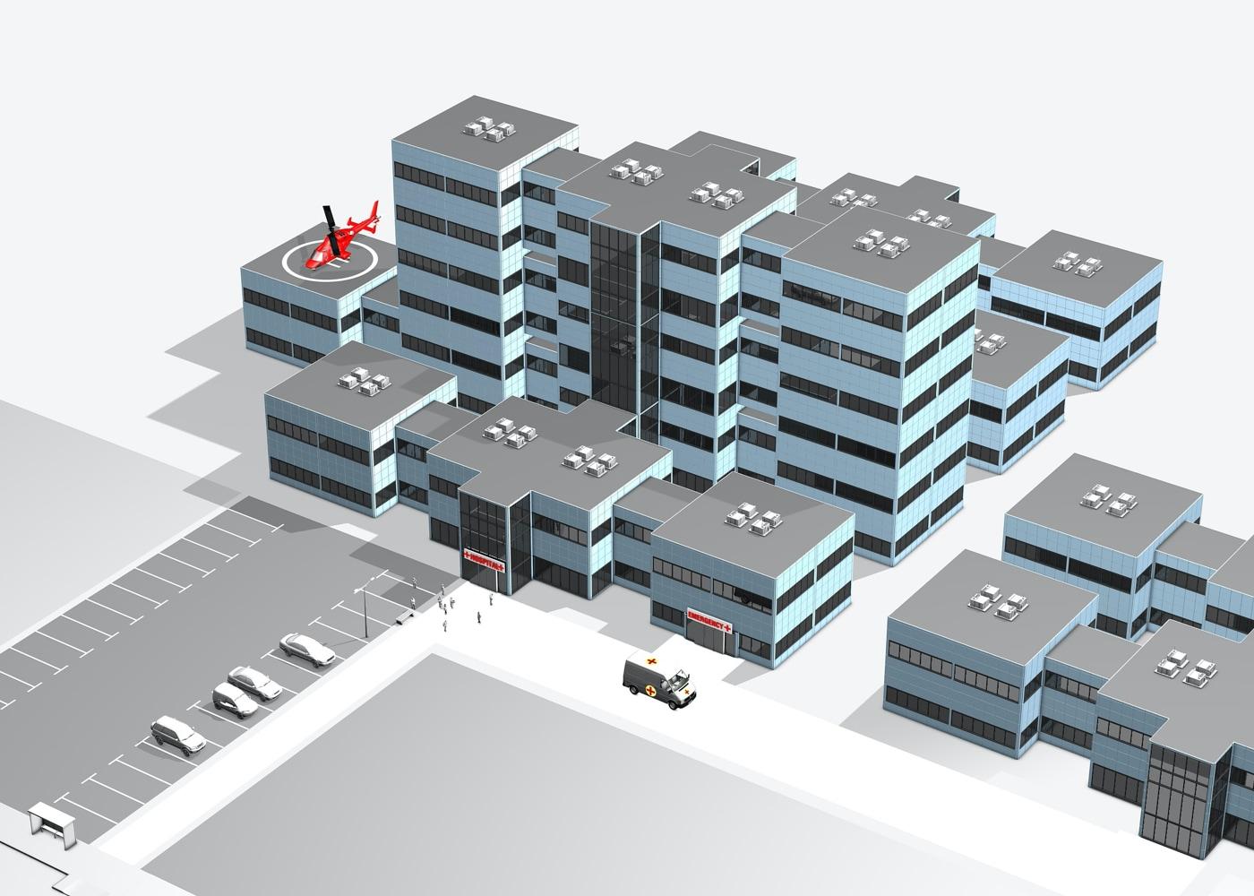 3D Ansicht einen Krankenhaus
