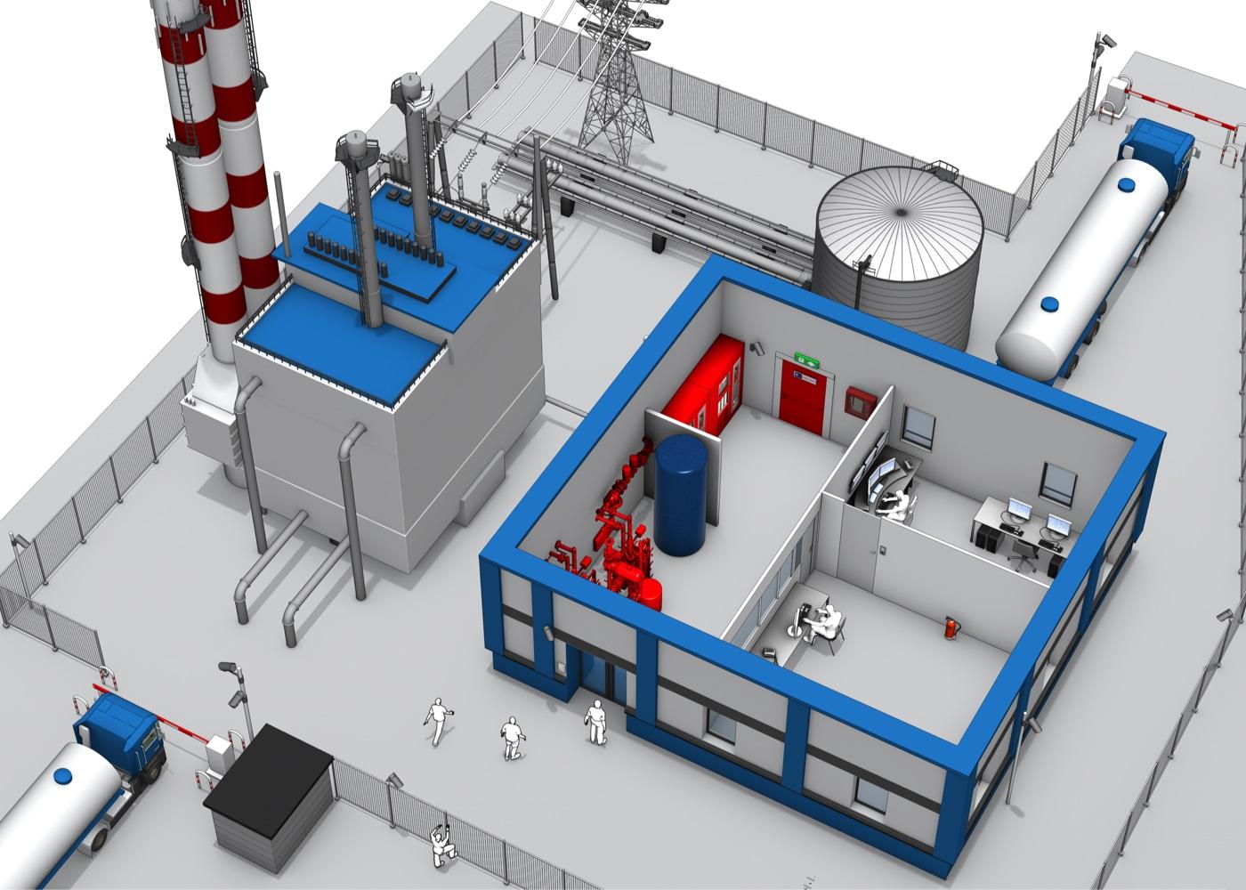 3D Ansicht eines Kraftwerks