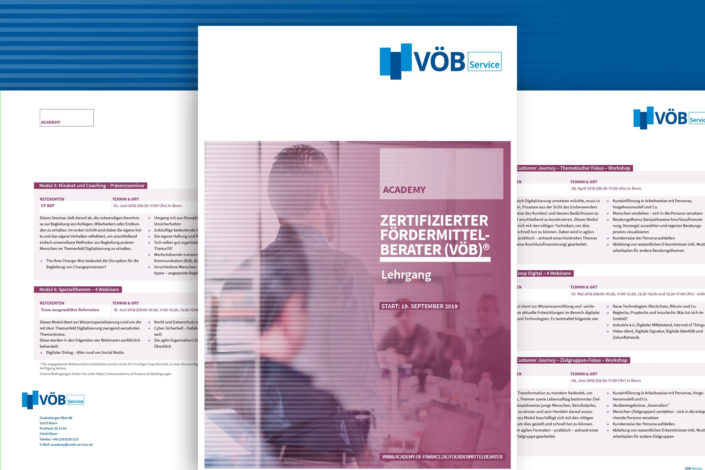 Montage von Titel und Folgeseiten einer Produktbroschüre des VÖB-Service
