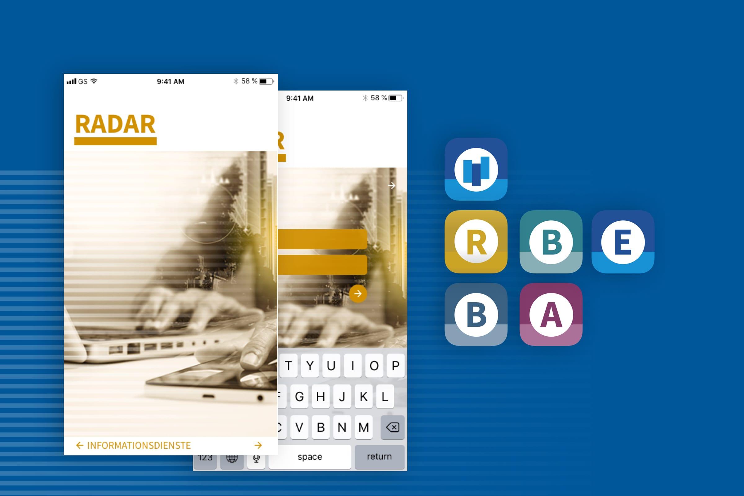 Montage von Beispiel eines App-Design und Icons von Radar und sonstigen Produkten des VÖB-Service