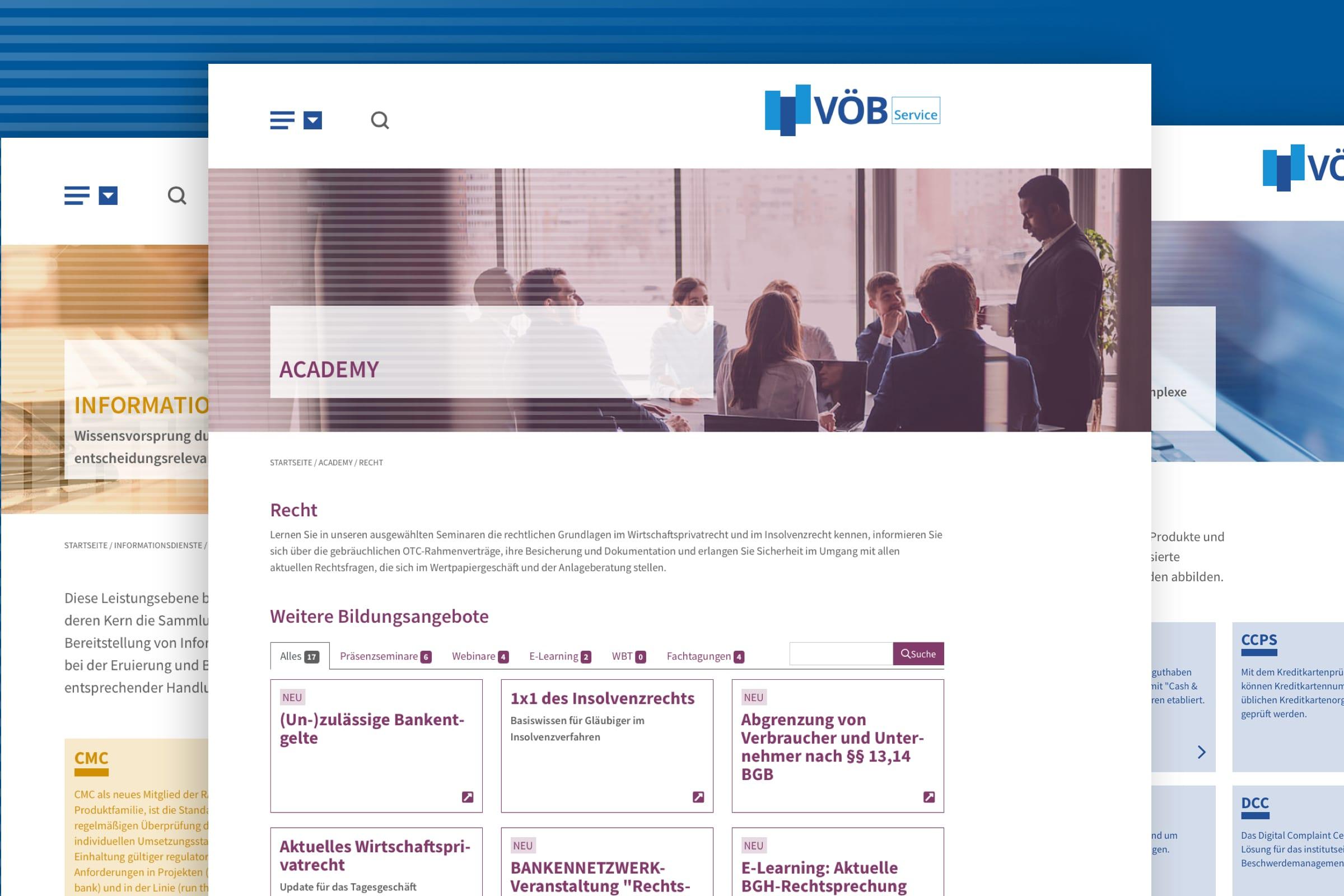 Montage vuon Folgeseiten des Internetauftritts der VÖB-Service GmbH