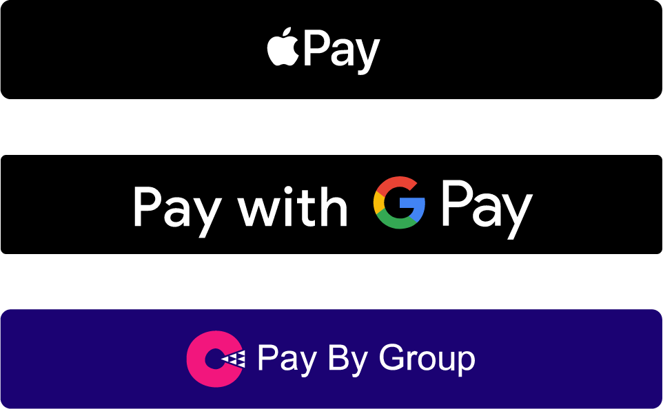 Pay using our Pay By Group technology along with Apple & Google Pay.