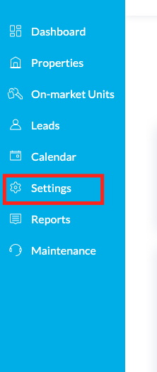 Settings page highlighted