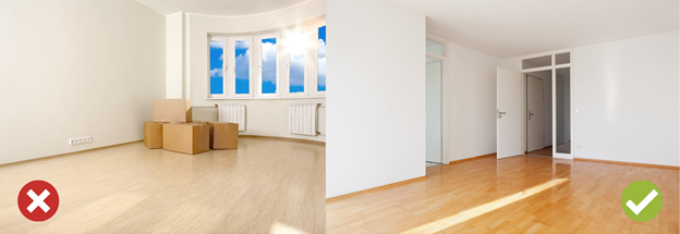 Image of untidy apartment (left), Image of clean apartment (right) in rental ads