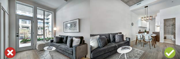 Image of lounge taken from a wrong angle (Left), Image of lounge taken from correct angle (right) in rental ads