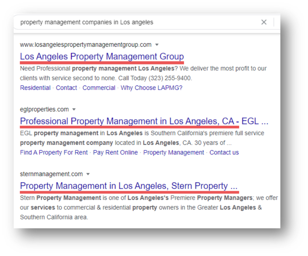 Example of Property management SEO - Page Title