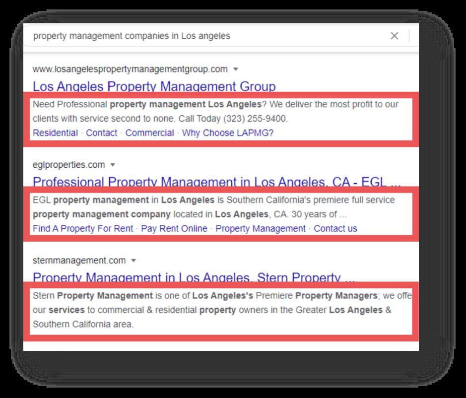 Example of Property management SEO - Meta descriptions
