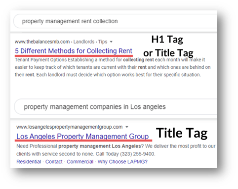 Example of Property management SEO - Title Tags