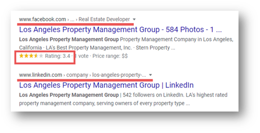 Example of Property management SEO - social media importance
