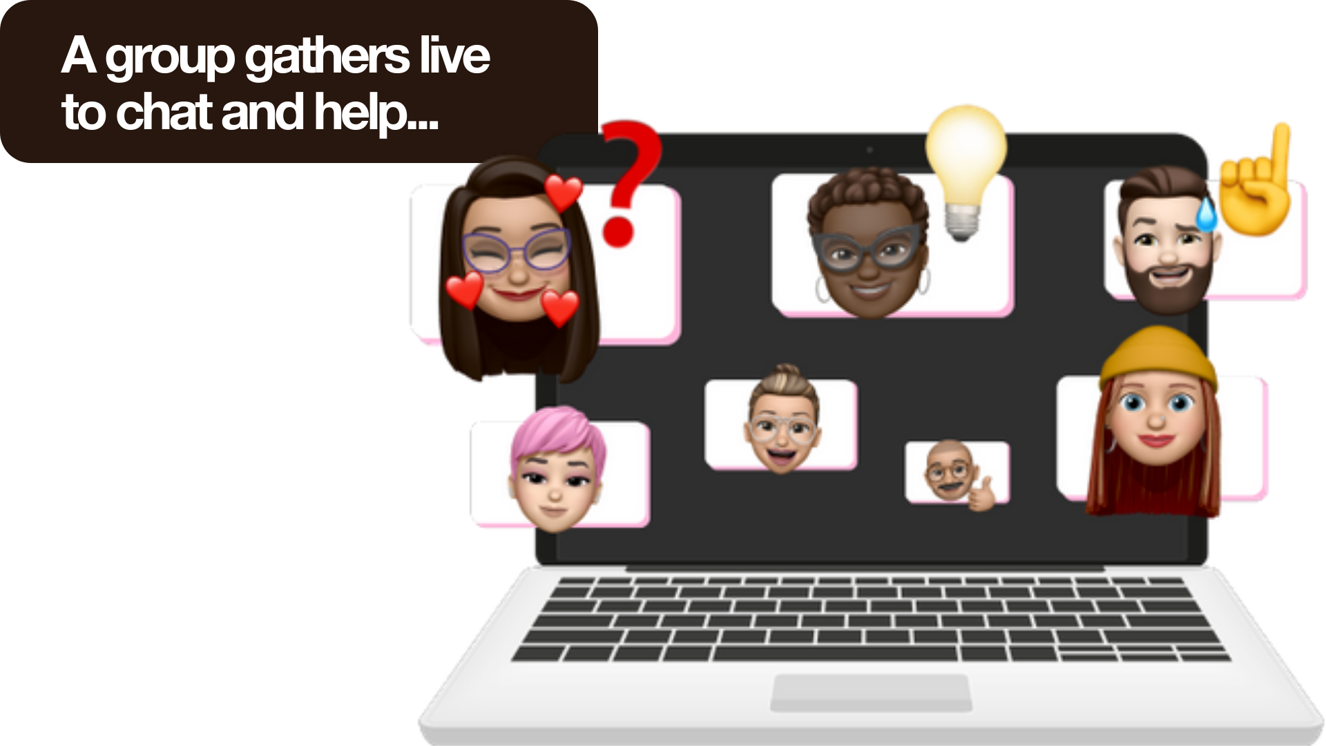 A group of people gathers online to help the person who asked a question about dating post-lockdown. They have a video chat.