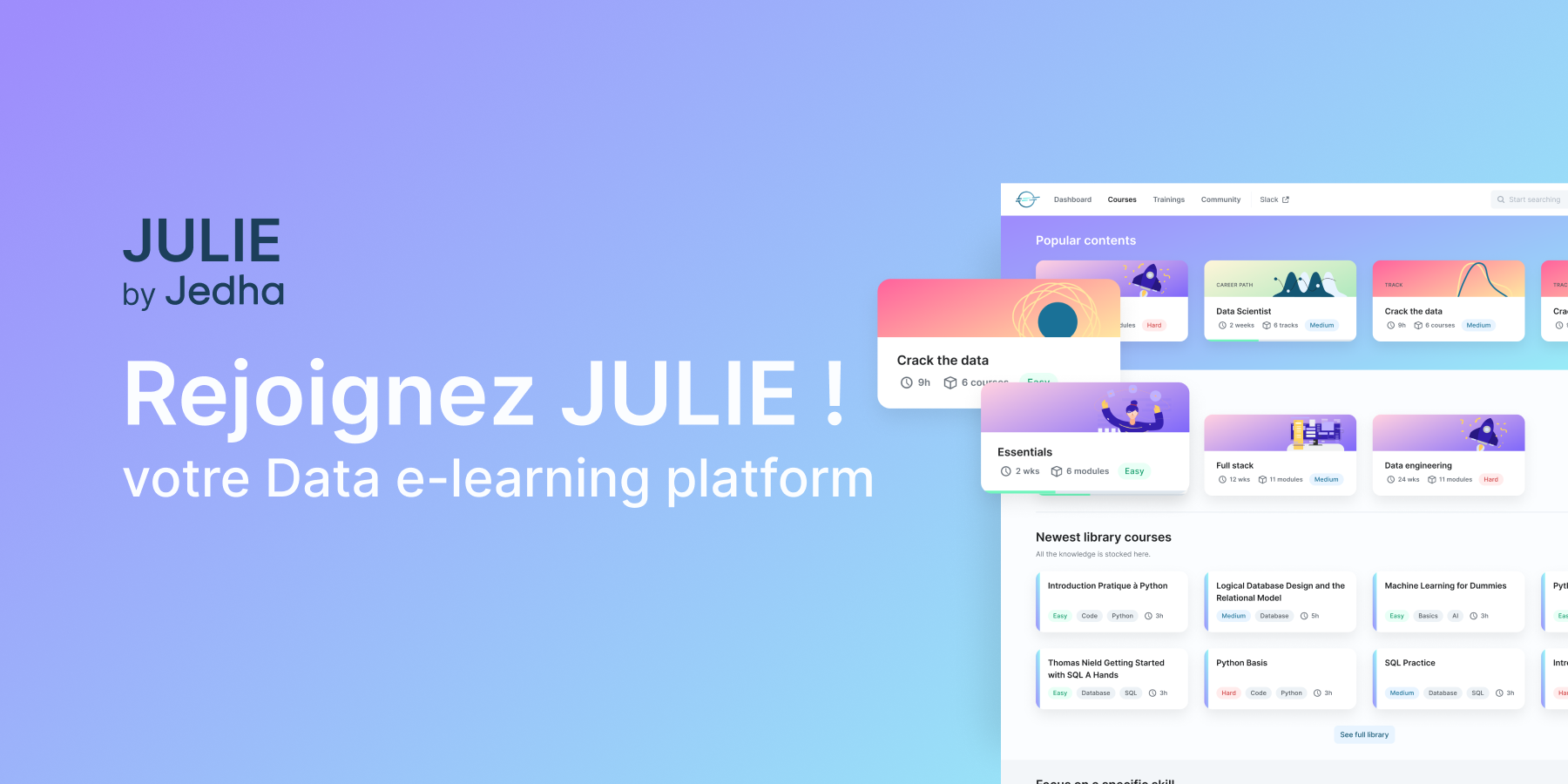 Formations Data Science en ligne avec JULIE