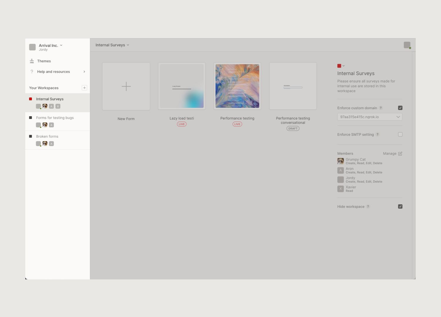 The new Workspaces UI, zoomed in on the Workspaces navigation