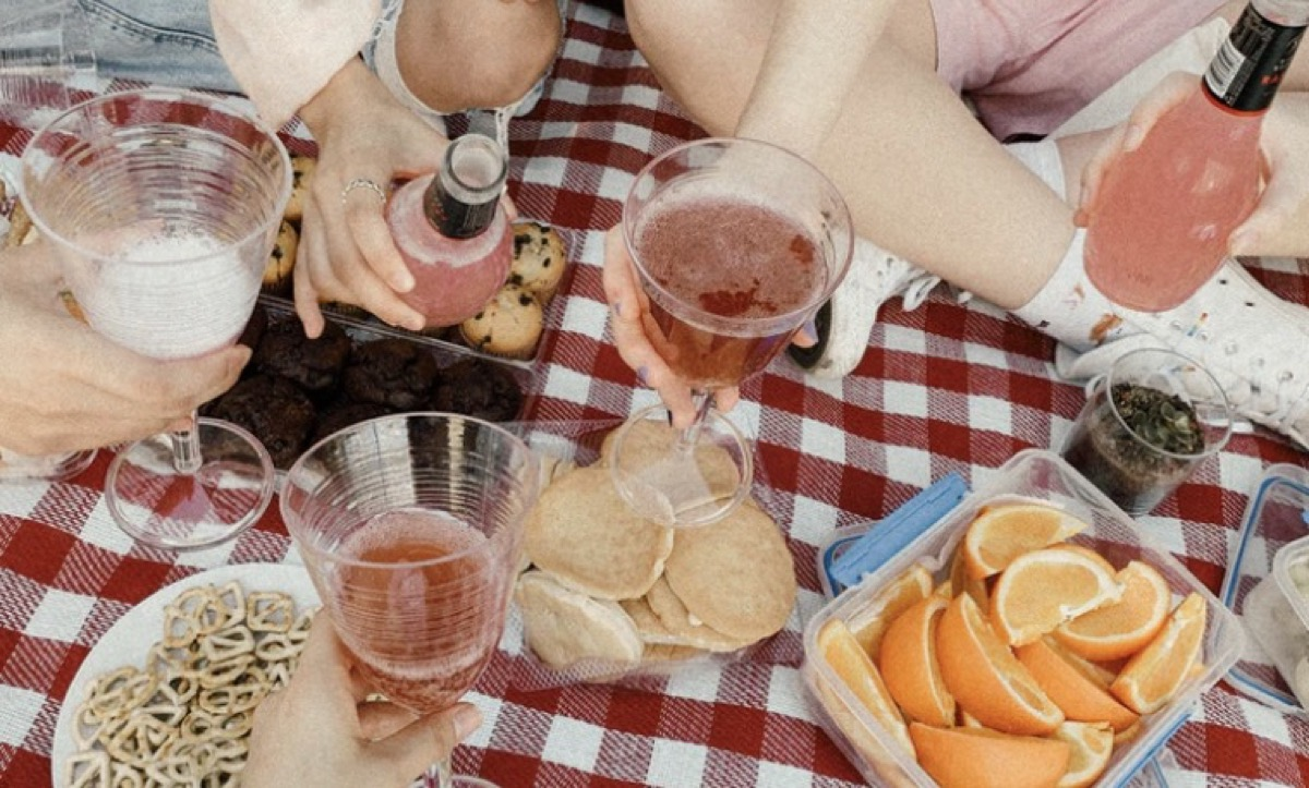 Friends enjoying a picnic and drinks