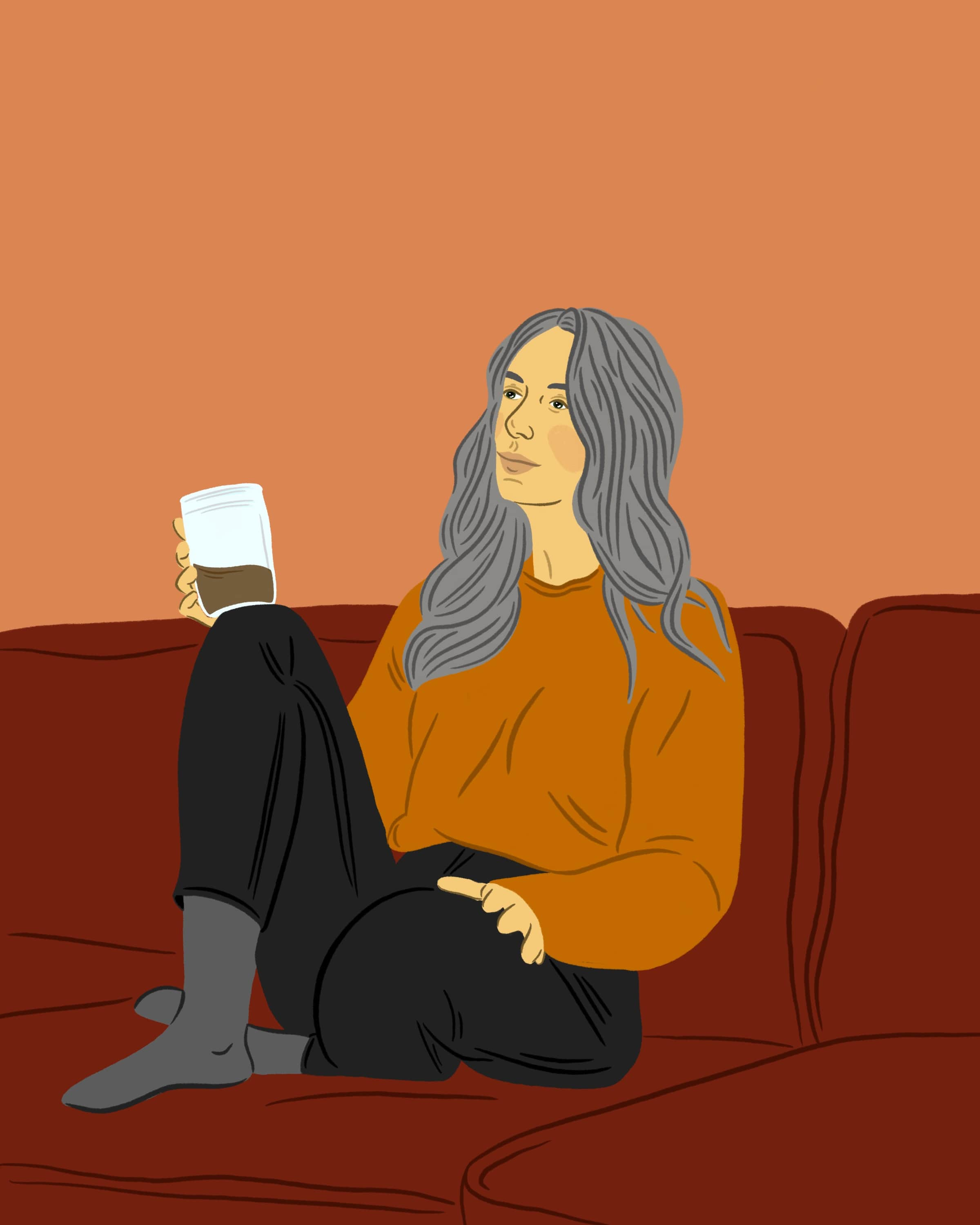 Illustration of a girl, sitting on her couch, drinking a coffee.