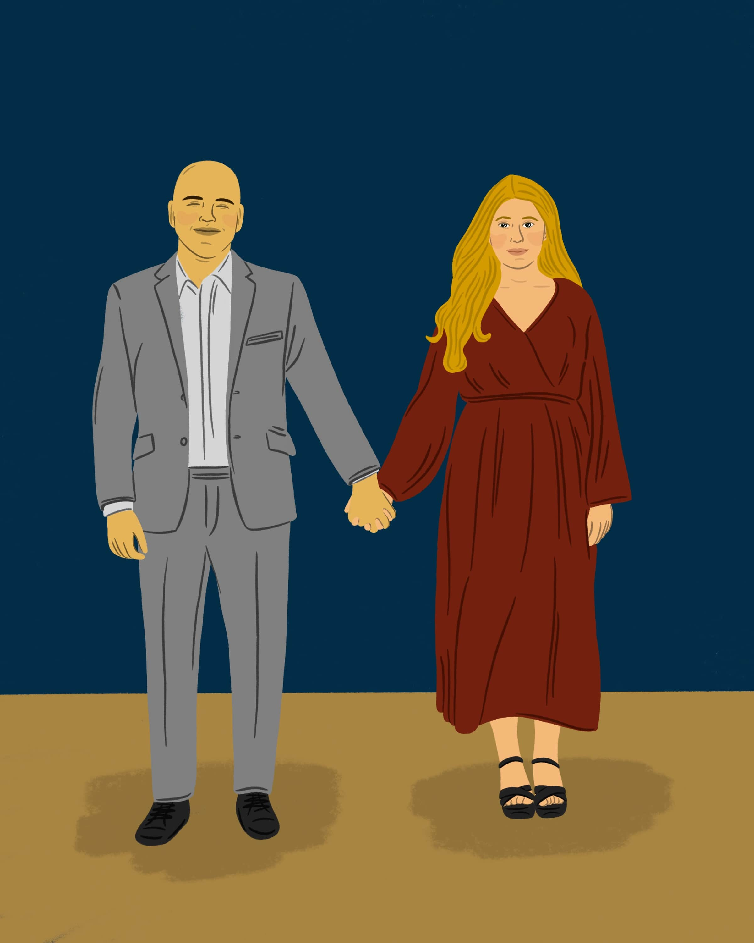 Illustration of a couple holding hands.