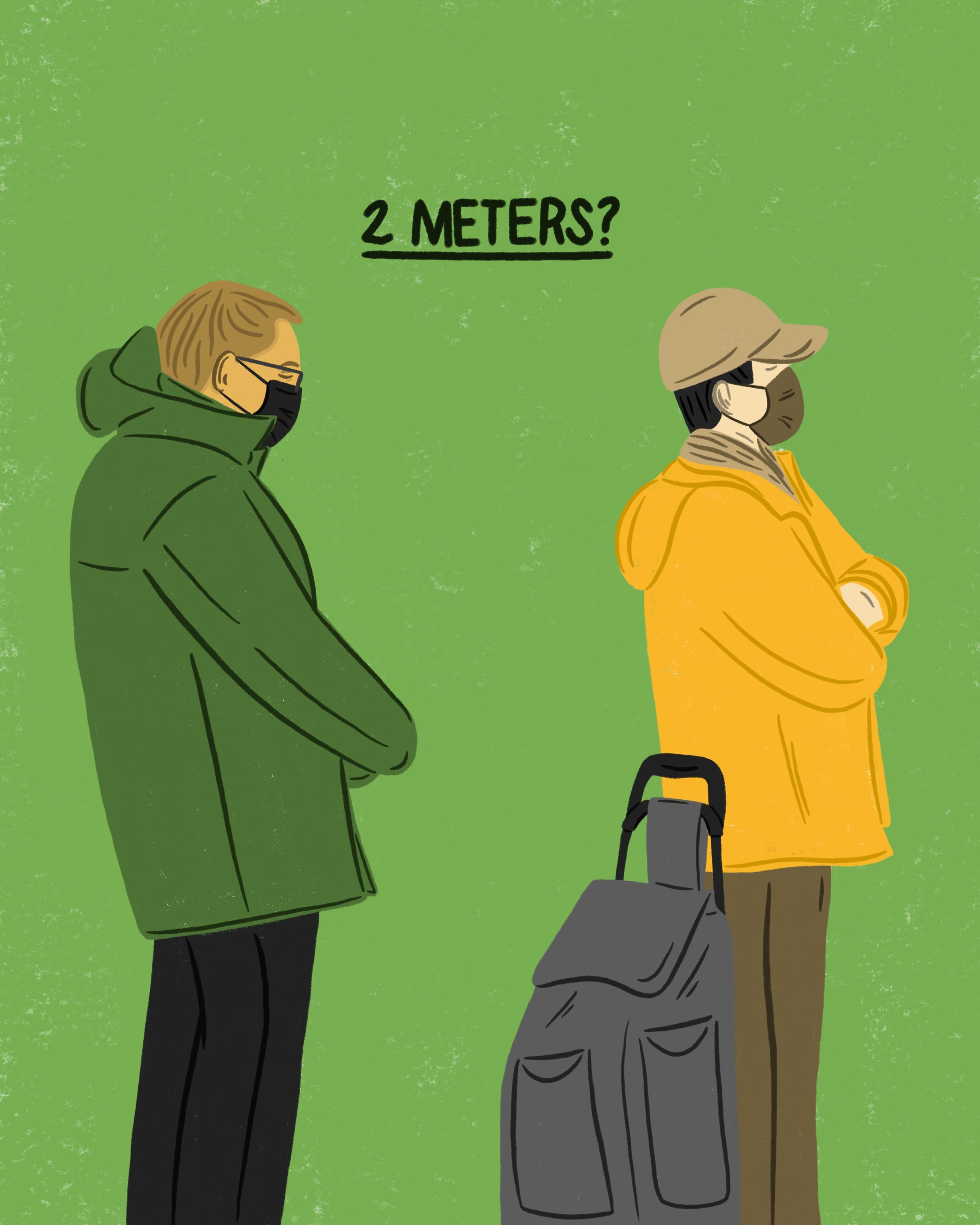 Illustration of 2 people waiting in line not standing 2 meters apart.