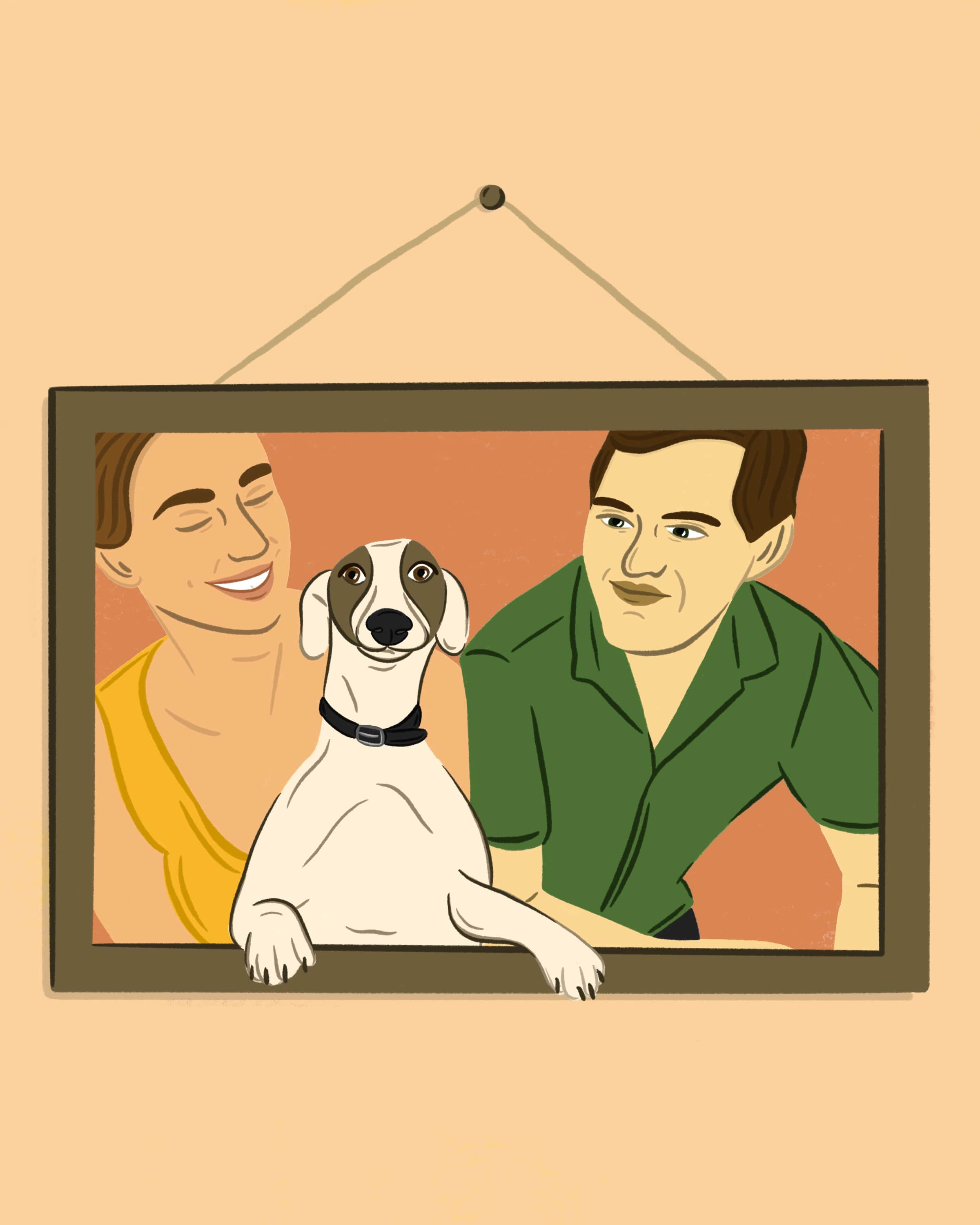 Illustration of a portrait of a girl and boy and their dog.