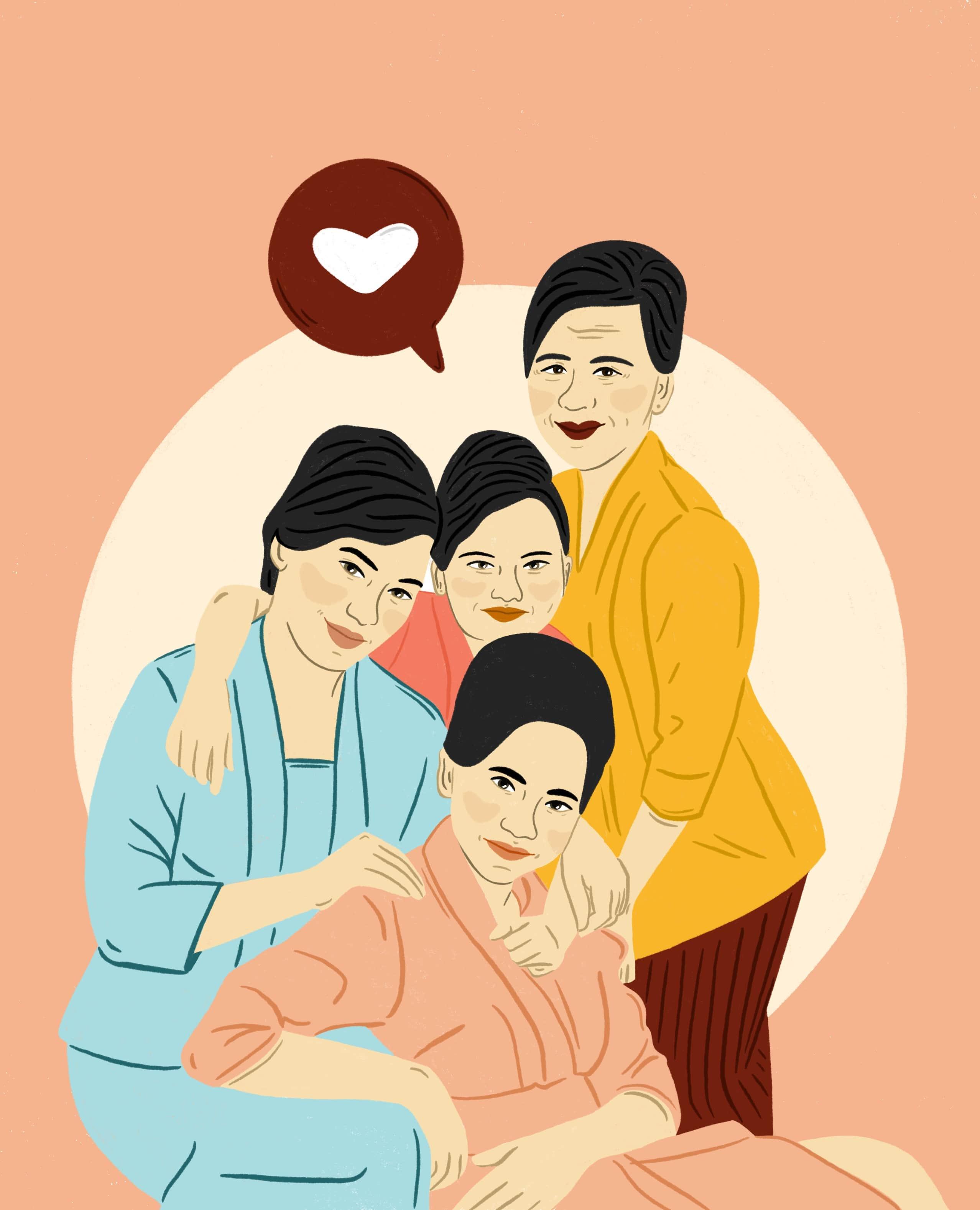 Illustration of family portrait, 4 generations.