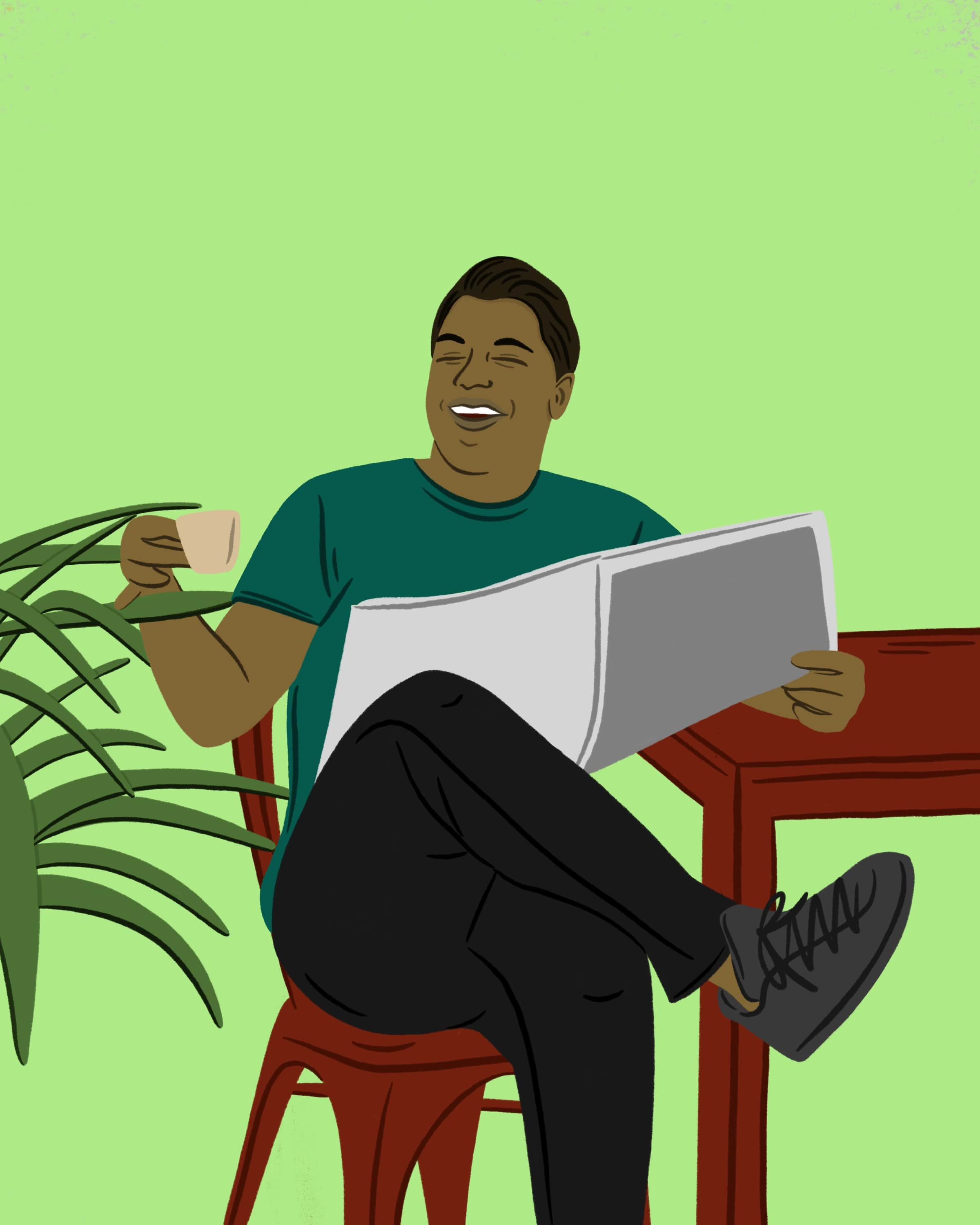 Illustration of a man drinking coffee and reading the paper.