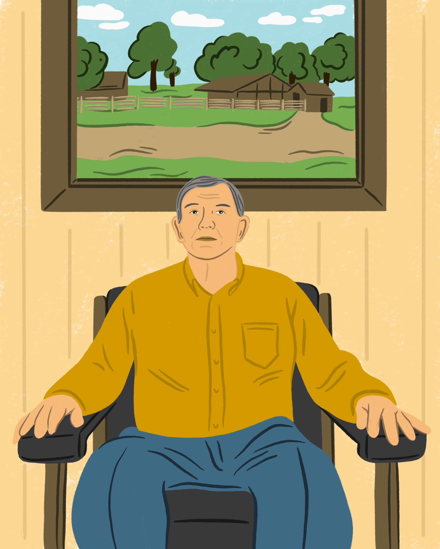 Illustration of a man sitting down.