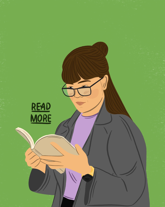 Illustration of a girl reading.