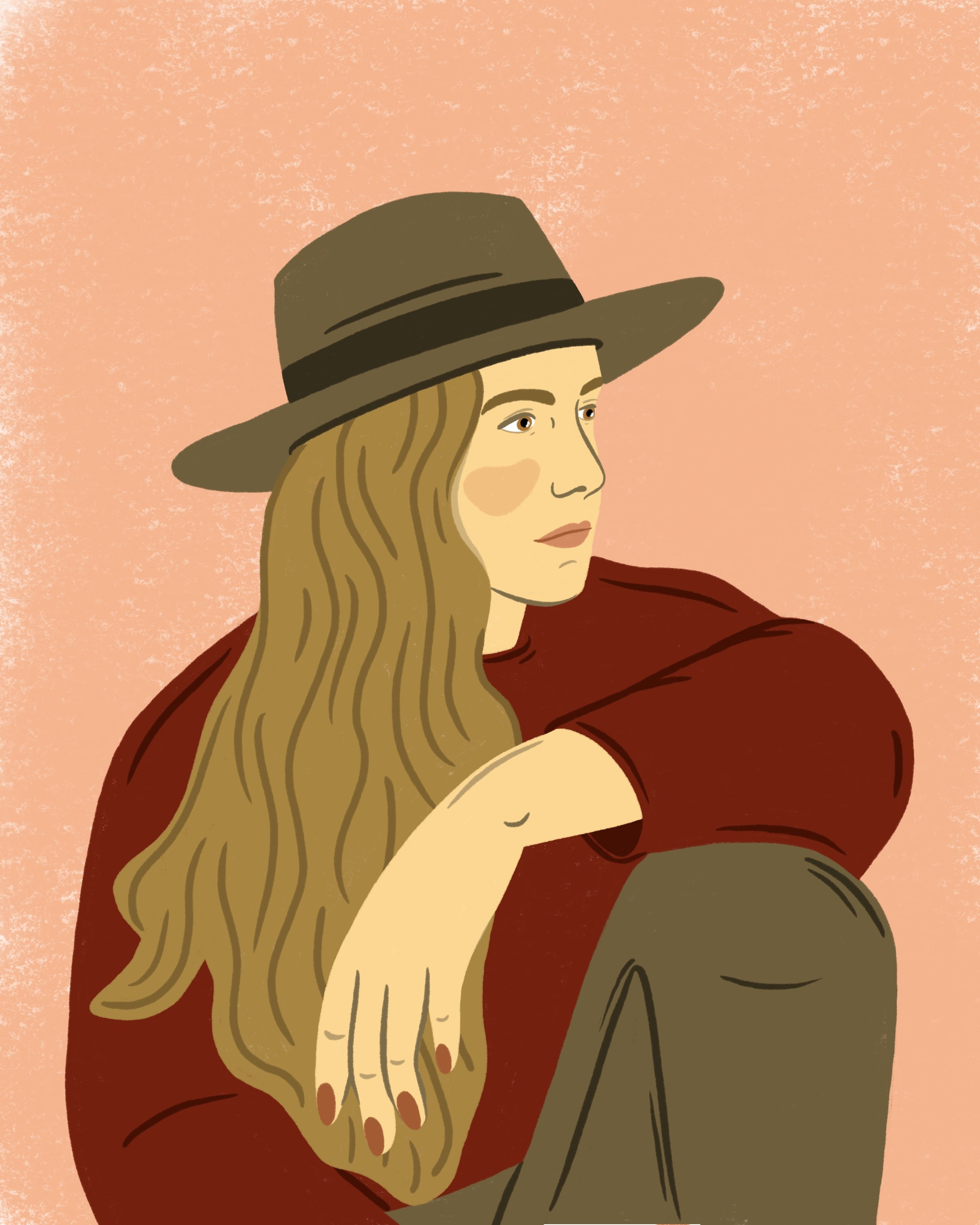 Illustration of a girl looking to her left side wearing a hat.