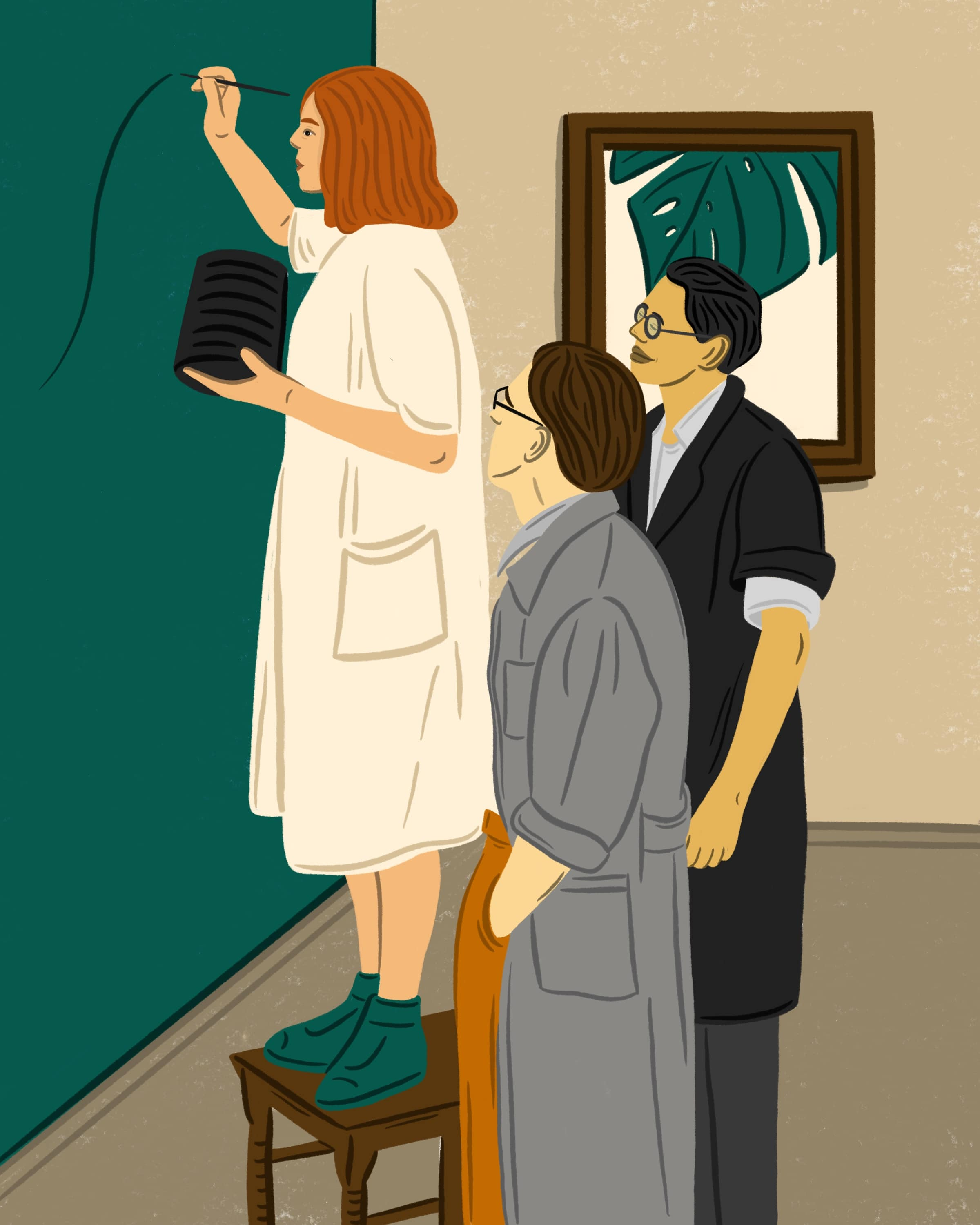 Illustration of a girl painting on a wall and two man standing behind her.