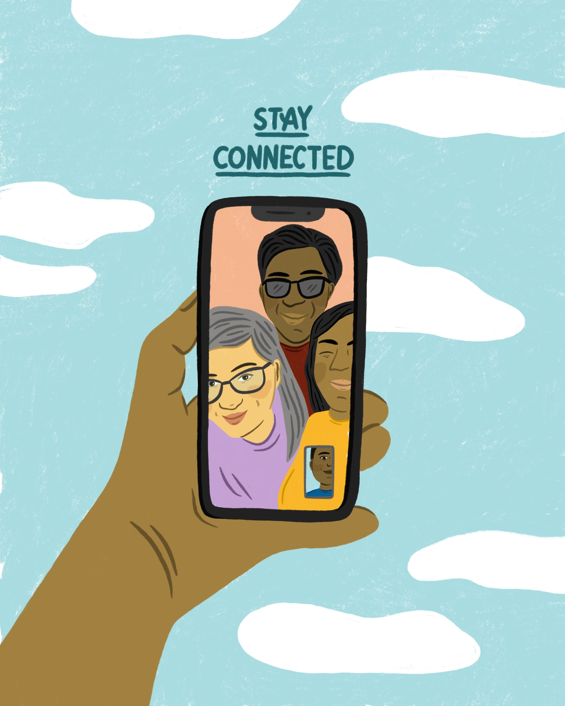 Illustration of a hand holding a phone with a video call on.
