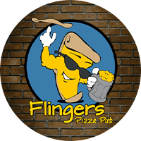 Flingers Pizza Pub Logo is a yellow cartoon slice of pizza wearing black sunglasses, holding a mug of beer and tossing pizza crust in the air.