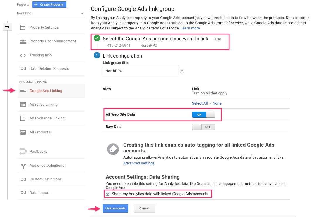 Google Analytics and Google Ads Linking