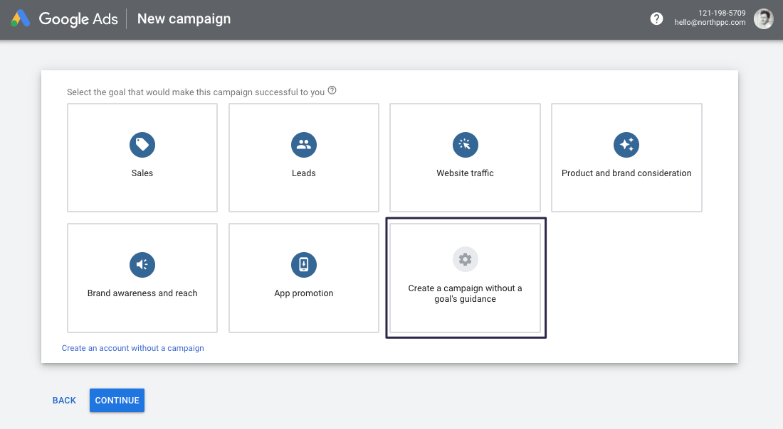 Google Ads - Create Campaign without a goal