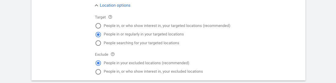 Google Ads - Target / Exclude settings