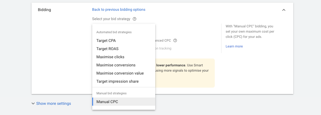 Google Ads - Bidding strategies / Manual CPC