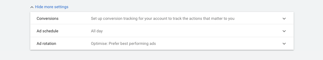 Google Ads - Ad rotation settings