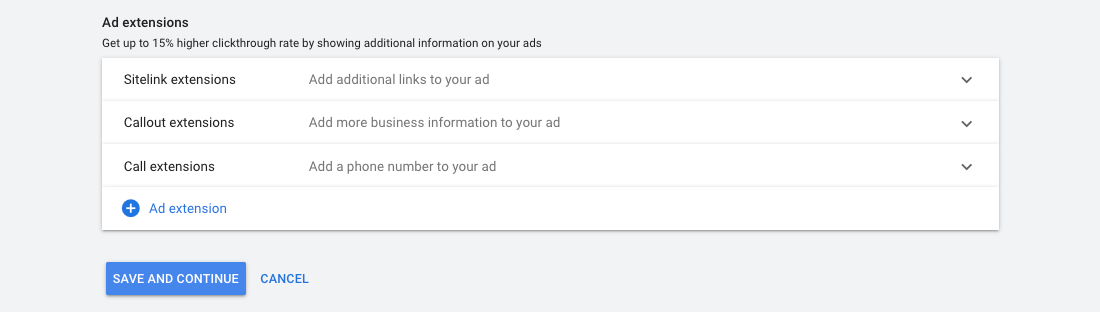 Google Ads - Ad extensions options