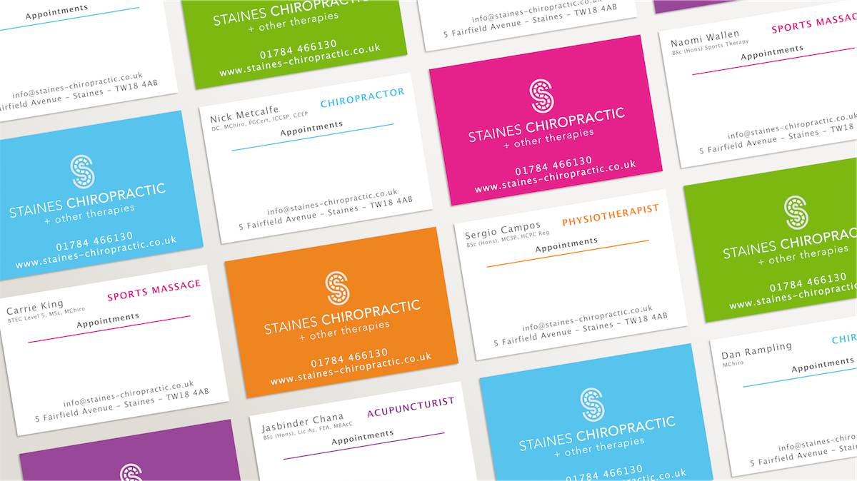 Chiropractic clinic colourful business cards