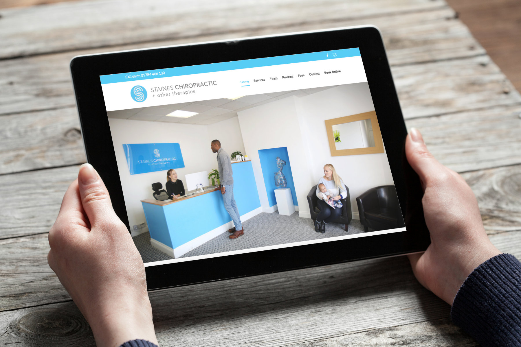Staines Chiropractic clinic website deisgn on iPad
