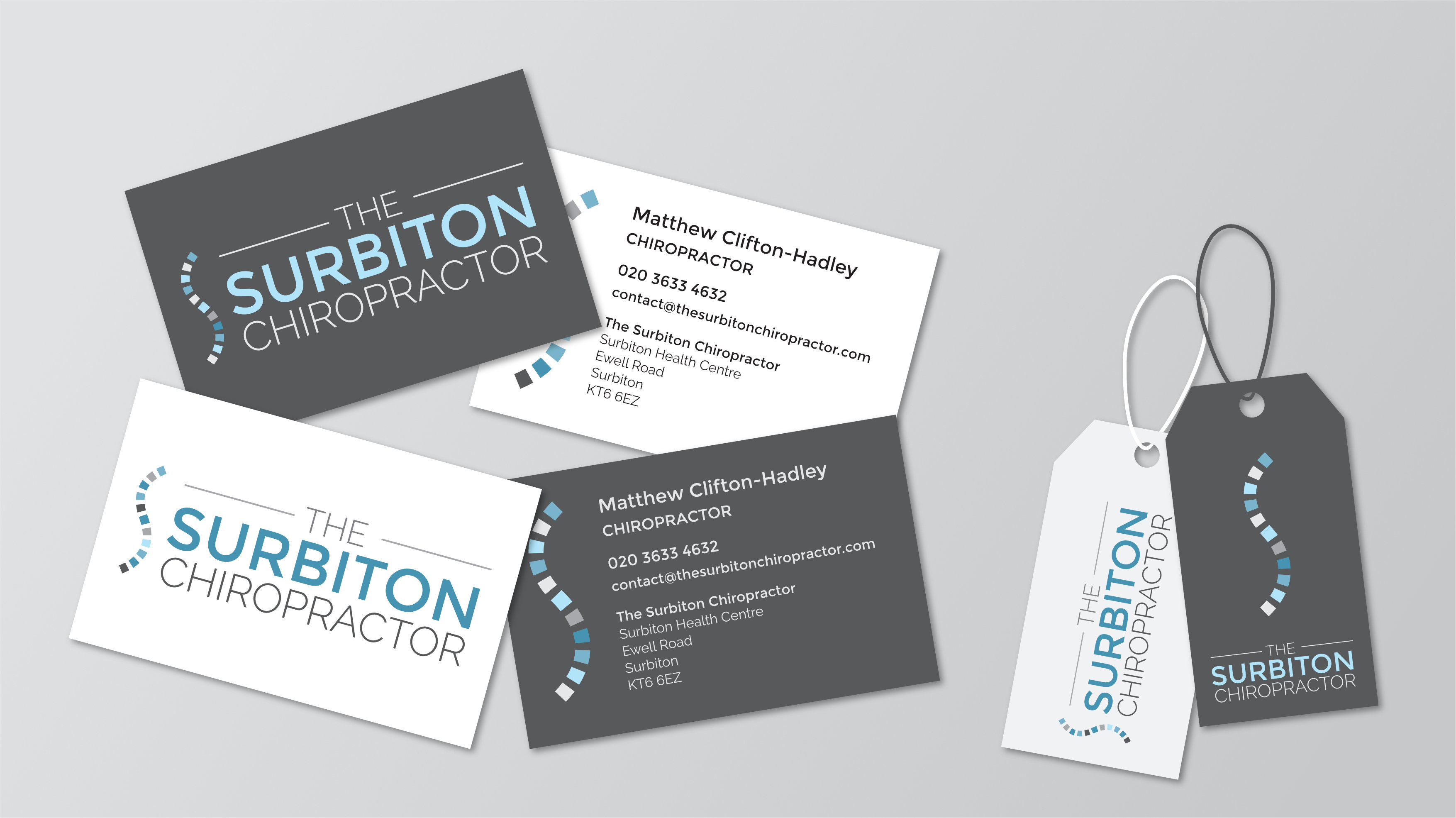 Chiropractic clinic print design business cards and labels