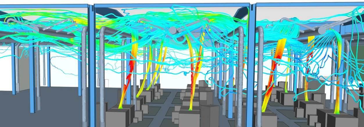 Strömungssimulation: Ausbreitung von Schadstoffen trotz Abluftanlage im gesamten Hallenbereich einer Giesserei