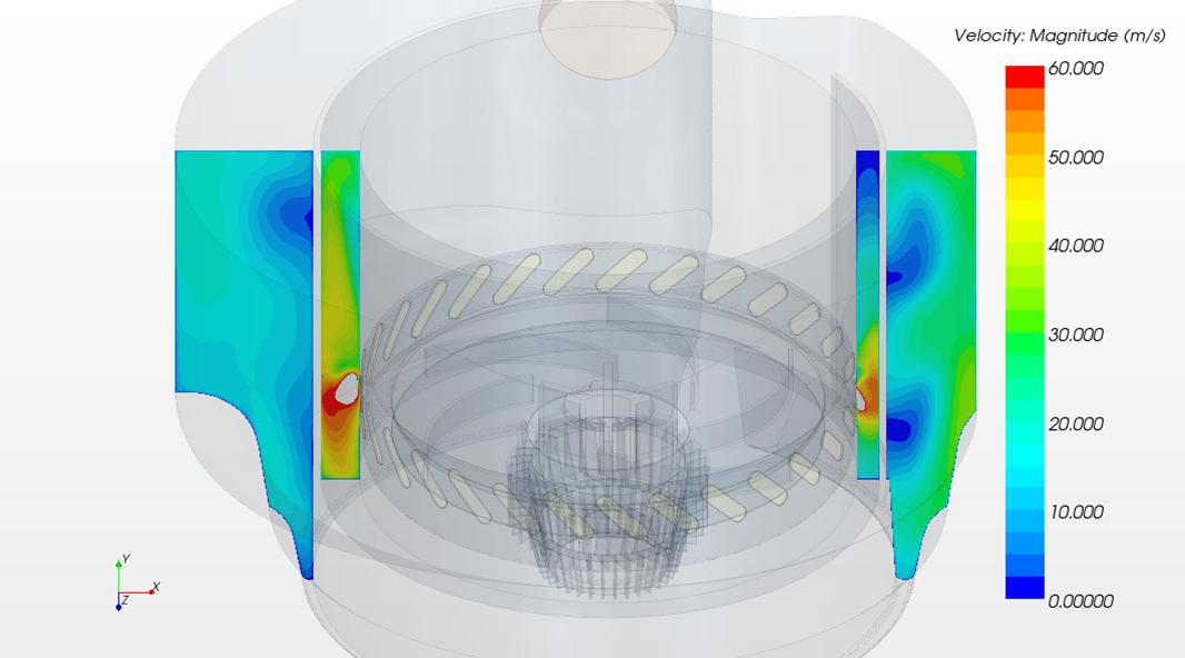 Strömungssimulation einer Staubsaugerkammer
