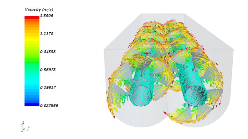 Strömungssimulationen geben Klarheit über die genauen Vorgänge beim Mischprozess in einer Mischschnecke um höchste Mischqualität zu erreichen.