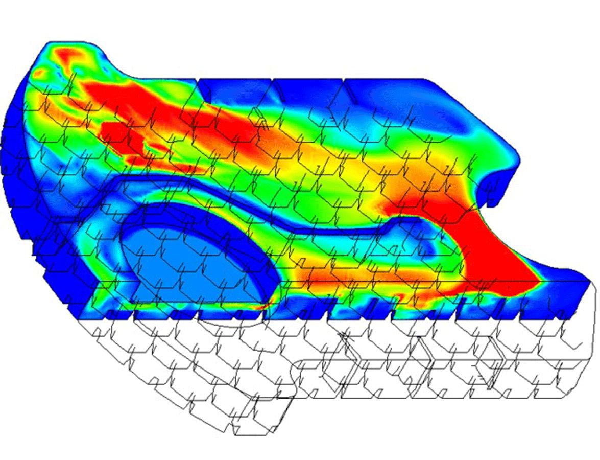Die CFD-Strömungssimulation zeigt die Fließgeschwindigkeiten. im System