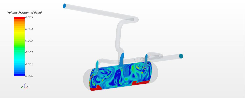 Die Zweiphasen-Analyse bei diesem Erdgasseparator zeigt, dass der zugeführte Gasgemisch-Strom die bereits separierte Flüssigkeit am Behälterboden zur Seite und sogar in Richtung Auslasskrümmer treibt.