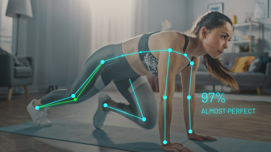 Woman doing exercise with AI Coach