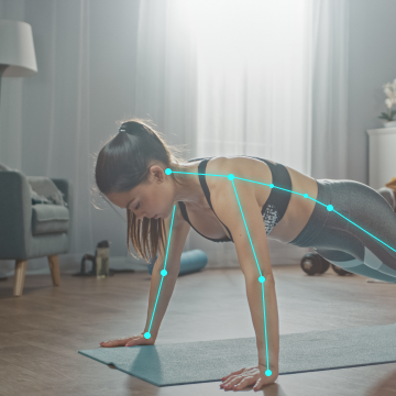 Woman Doing Push Up Workout Exercises with AI Coach