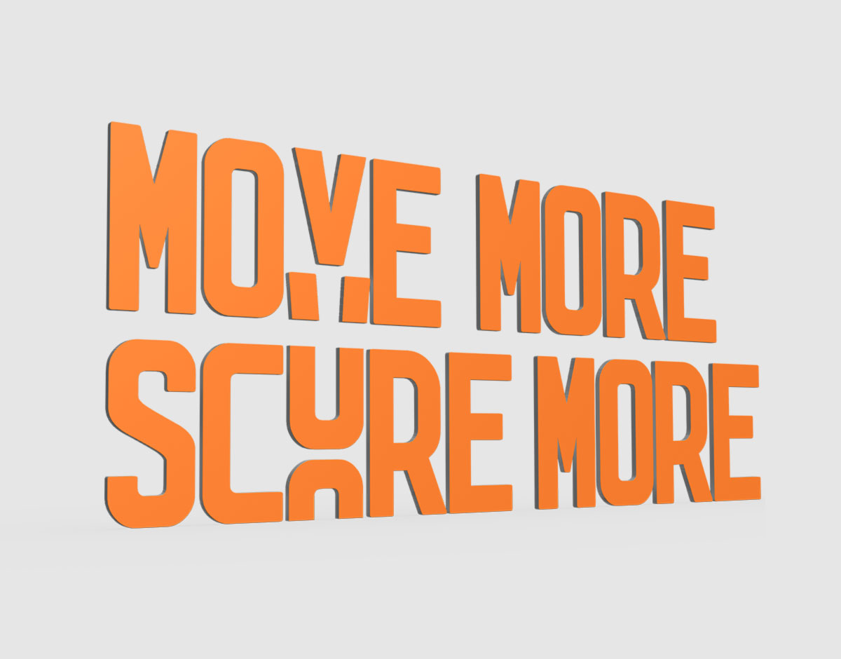Lucozade Sport 3D campaign typography