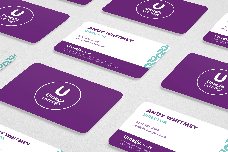 Umega lettings business cards