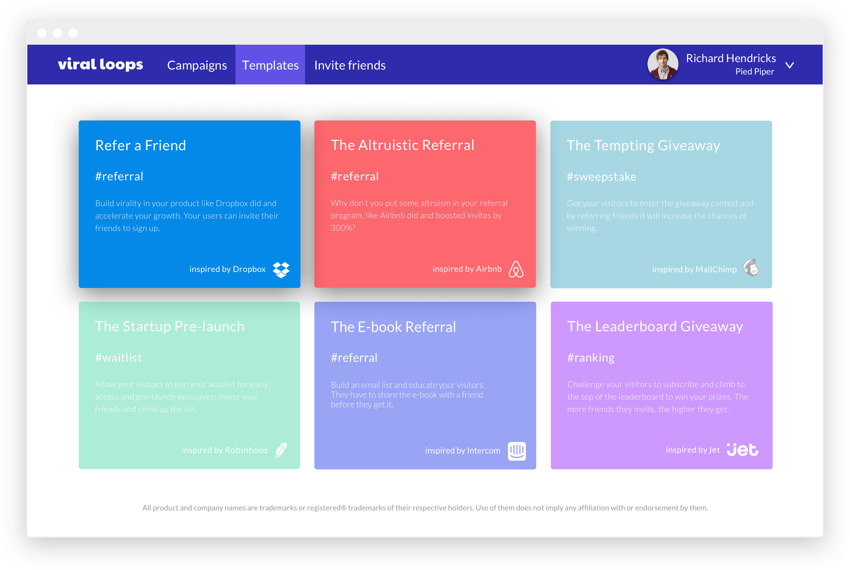 Viral Loops referrals Dashboard